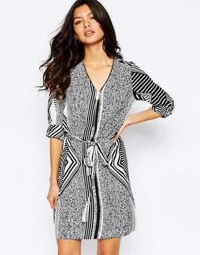 River Island Zip Detail Printed Shirt Dress