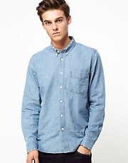 Velour Shirt In Washed Denim