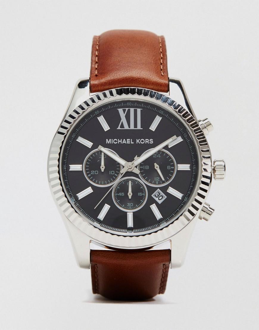 michael kors male 211468 michael kors lexington chronograph brown watch in leather mk8456 brown