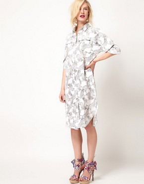 Image 1 ofASOS Africa Midi Shirt Dress With Zebra Print