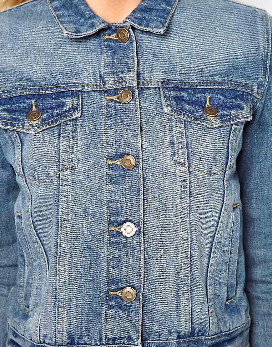 Image 3 ofASOS Denim Western Jacket in Mid Stone Vintage Wash