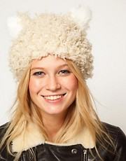 ASOS Faux Fluffy Shearling Ears Hat