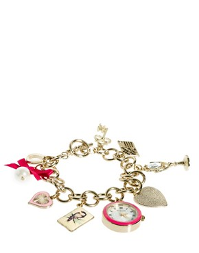 Image 1 of Accessorize Watch Charm Bracelet With Postcard Charms