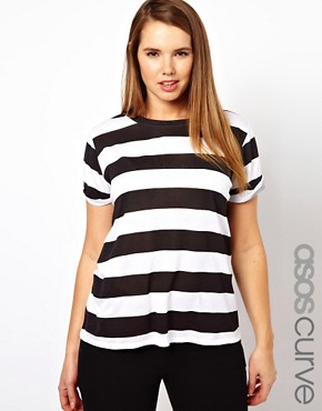 Image 1 ofASOS CURVE Exclusive Stripe T-Shirt