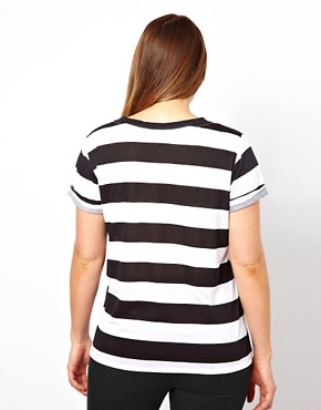 Image 2 ofASOS CURVE Exclusive Stripe T-Shirt