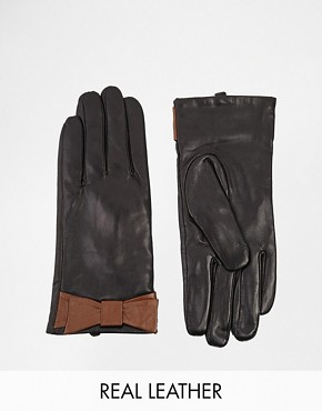 Liquorish Soft Leather Bow Gloves
