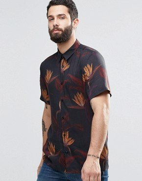 River Island Short Sleeve Shirt In Black With Floral Print In Regular Fit