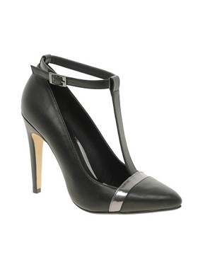 Image 1 ofASOS PROMOTE Pointed High Heels with T-Bar