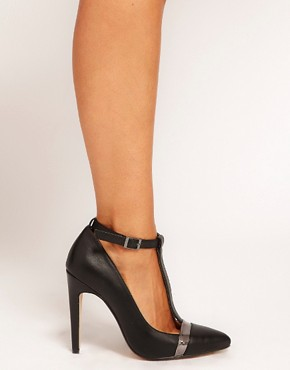Image 3 ofASOS PROMOTE Pointed High Heels with T-Bar