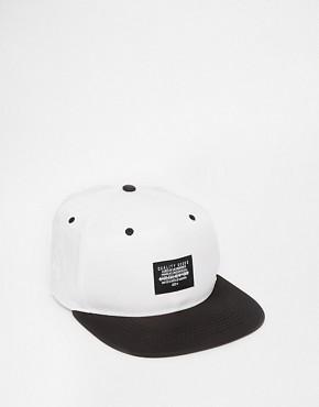 ASOS Snap Back Cap In White Monochrome