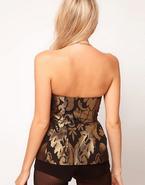 Image 2 ofASOS PETITE Exclusive Corset Playsuit With Peplum