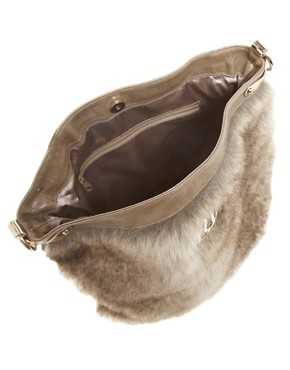 Image 2 ofRiver Island Fur Trim Slouch Bag