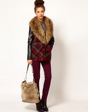 Image 3 ofRiver Island Fur Trim Slouch Bag