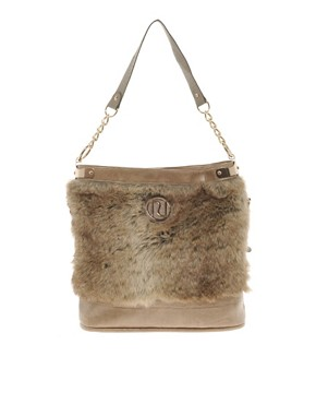 Image 1 ofRiver Island Fur Trim Slouch Bag