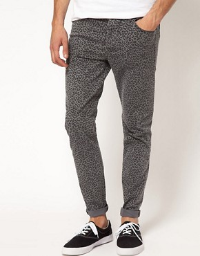 Image 1 ofASOS Skinny Jeans With Animal Print