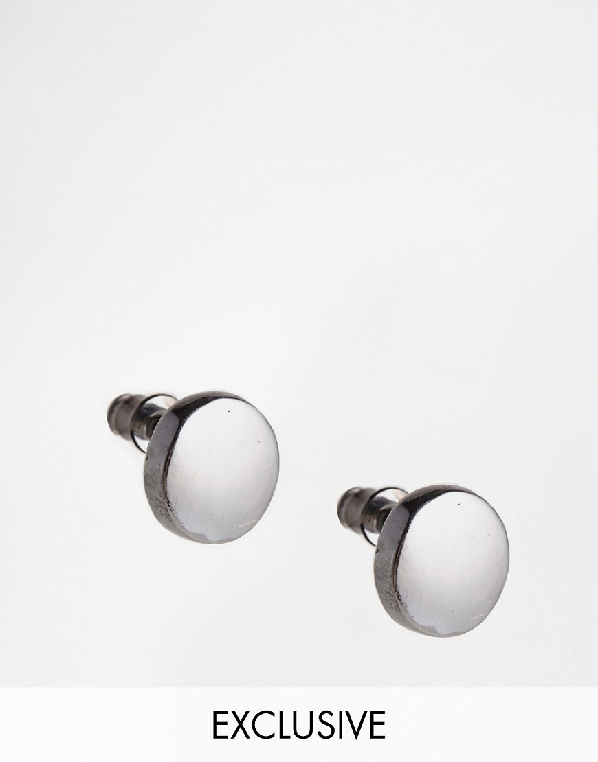 Designsix Circle Stud Earrings Exclusive To ASOS - Silver