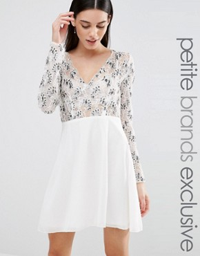 Maya Petite Long Sleeve Plunge Front Embellished Skater Dress
