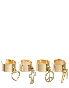 Image 1 ofASOS Adjustable Pack of Four Mixed Charm Band Rings