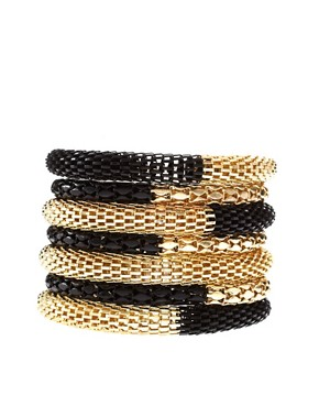 Image 2 of ASOS Black and Gold Metal Bracelet Pack