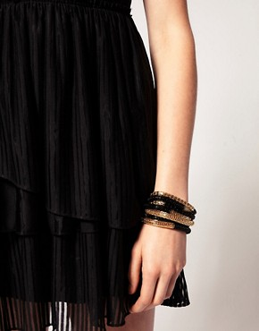 Image 3 of ASOS Black and Gold Metal Bracelet Pack