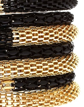 Image 4 of ASOS Black and Gold Metal Bracelet Pack