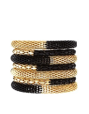 Image 1 of ASOS Black and Gold Metal Bracelet Pack