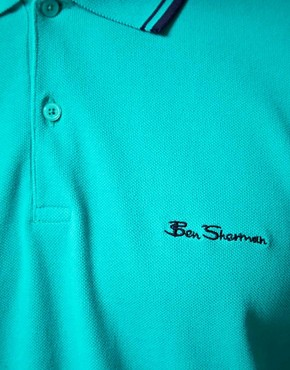 Image 3 ofBen Sherman Romford Tipped Pique Polo Shirt