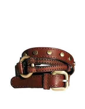 Image 1 ofUrban Code Leather Belt with Double Strap Detail