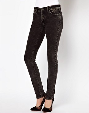 Image 1 ofASOS Skinny Jeans in Black Acid Wash
