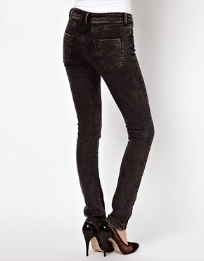 Image 2 ofASOS Skinny Jeans in Black Acid Wash