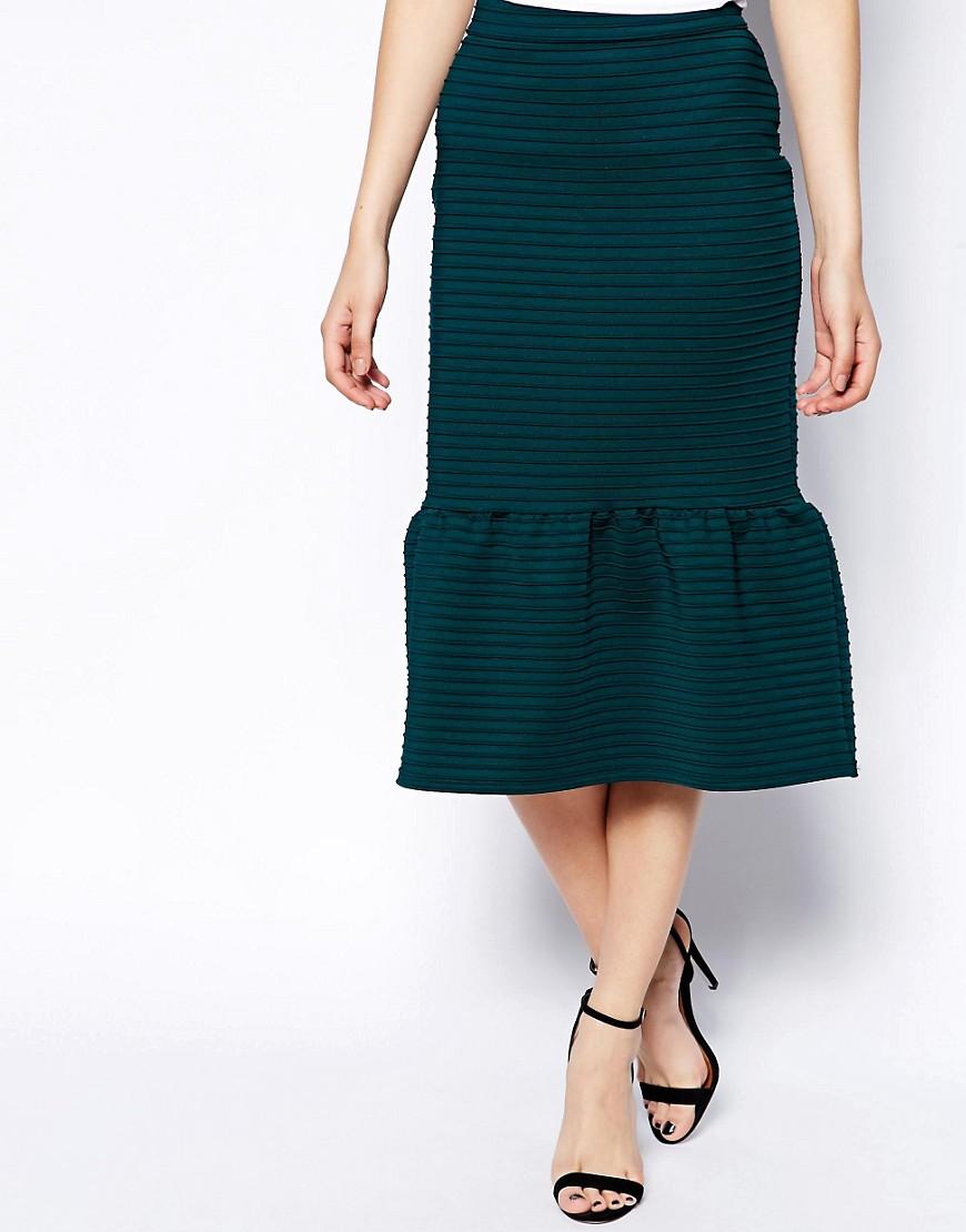 Image 4 ofASOS Pencil Skirt In Rib With Peplum Hem