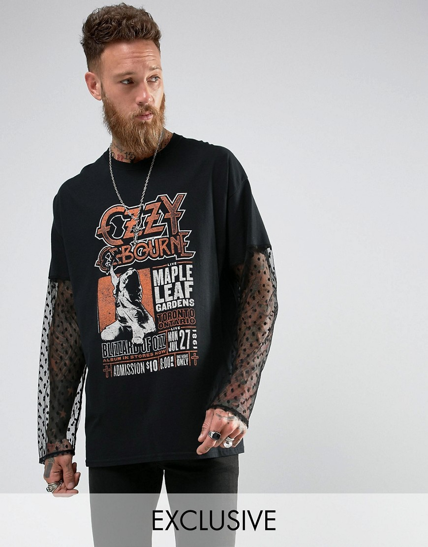 Reclaimed Vintage Inspired Oversized Long Sleeve T-Shirt With Lace Sleeves And Ozzy Print - Black
