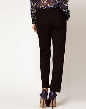 Image 2 ofASOS Trousers With Leather Look Trim