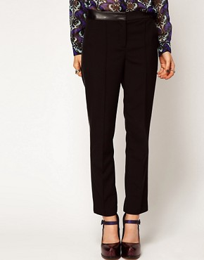 Image 4 ofASOS Trousers With Leather Look Trim