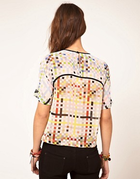 Image 2 ofASOS Woven T-Shirt With Mixed Square Print