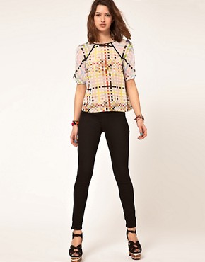 Image 4 ofASOS Woven T-Shirt With Mixed Square Print