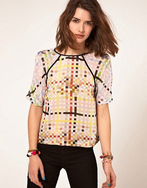 Image 1 ofASOS Woven T-Shirt With Mixed Square Print