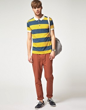 Image 4 of River Island Rugby Stripe Polo Shirt