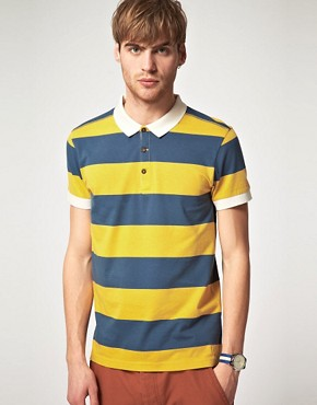 Image 1 of River Island Rugby Stripe Polo Shirt