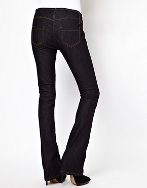 Image 2 of ASOS Super Sexy Flare with Stitch Detail in Dark Indigo #17