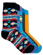 River Island Blue Aztec Pattern Socks