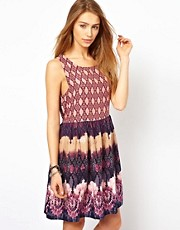 Band Of Gypsies Smock Dress In Lux Python Print