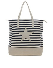 Pieces Grine Canvas Star Shopper Bag
