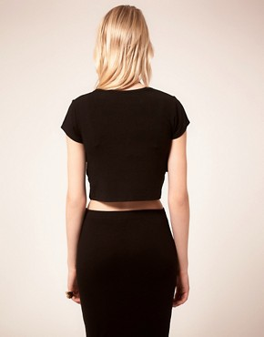 Image 2 ofFactory By Erik Hart Cropped T-Shirt With Leather Panels