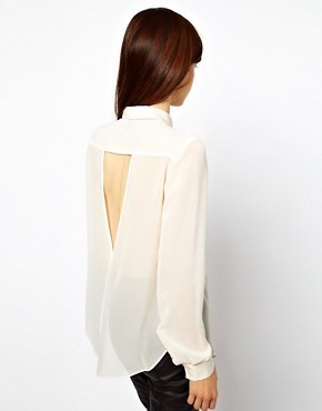 Image 2 of ASOS Blouse With Chain Collar And Cut Out Back