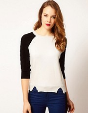 Karen Millen Knitted Jumper with Contrast Raglan Sleeves