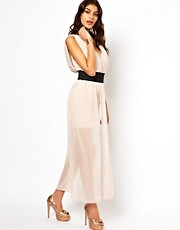 ASOS Maxi Dress With Mini Skirt And Deep V Neck