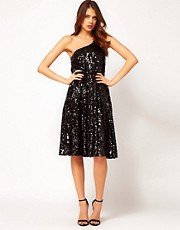 Halston Heritage Trapeze Sequin Mini Dress