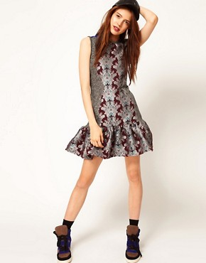 Image 4 ofASOS Africa Dress with Peplum and Floral Print