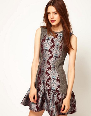 Image 1 ofASOS Africa Dress with Peplum and Floral Print